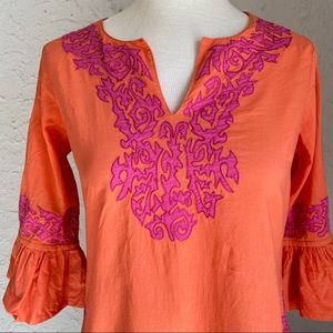 Gretchen Scott Orange Pink Tunic Ruffle Sleeves